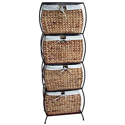 Storage Drawer with Seagrass Wicker Baskets - 4 Drawer Storage Chest - Brown ()