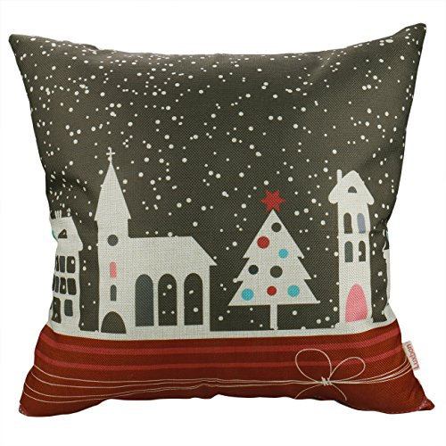 Luxbon Merry Christmas Pillow Case Snowflake Christmas Tree City House on Xmas Eve Couch Sofa Decorative Cushion Cover Cotton Linen Happy New Year Home Decor Throw Pillow Cover 18 x 18'' -