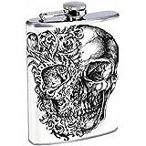 Hip Flask 8oz Stainless Steel for Men and Women Biker Skull-067