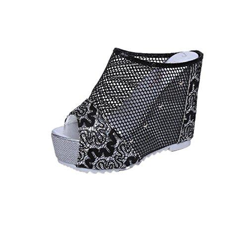 Chaussures Longra Noir hauteur Environ Cm Sandales Sandals 13 Talon Ouvert Bout D't Talons Hauts Compenses Du Femmes qpRpt