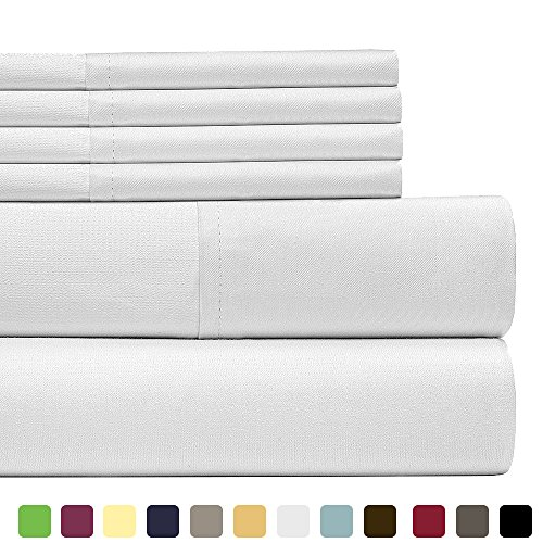 6 Piece Lux Decor Bed Sheets Set Queen Size, HOTEL LUXURY Brushed Microfiber Flat Sheet, Fitted Sheet with 4 Pillow Cases,Deep Pockets, Stain Resistant, Soft & Extremely Durable (Queen , White)