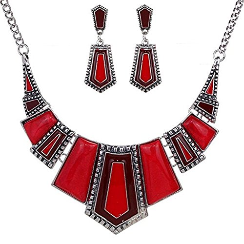 Ethnic Style Jewelry Sets,Vintage Ethnic Black Tibetan Silver Jewelry Irregular Rhinestone Bib Collar Vintage Ethnic Earrings Necklace Set (And Set Earring Necklace Red)