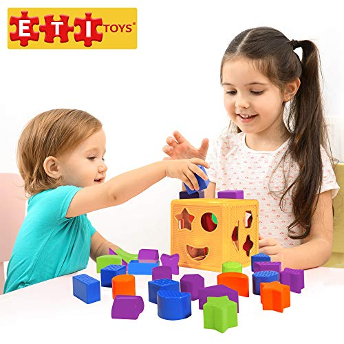 (ETI Toys | 19 Piece Unique Educational Sorting Matching Toy for Toddlers. Colorful Sorter Cube Box & Shapes - Non-Toxic Safe Materials - Promotes Fun Learning, Creativity & Skills (Yellow-Red))