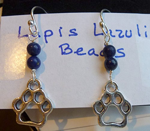 Lapis French Wire Earrings (Handmade Sterling Silver French Ear Wires with Dangling Charms Made Up of Two Lapis Lazuli Beads and One Alloy Cat or Dog Paw Charm on Each Earring)