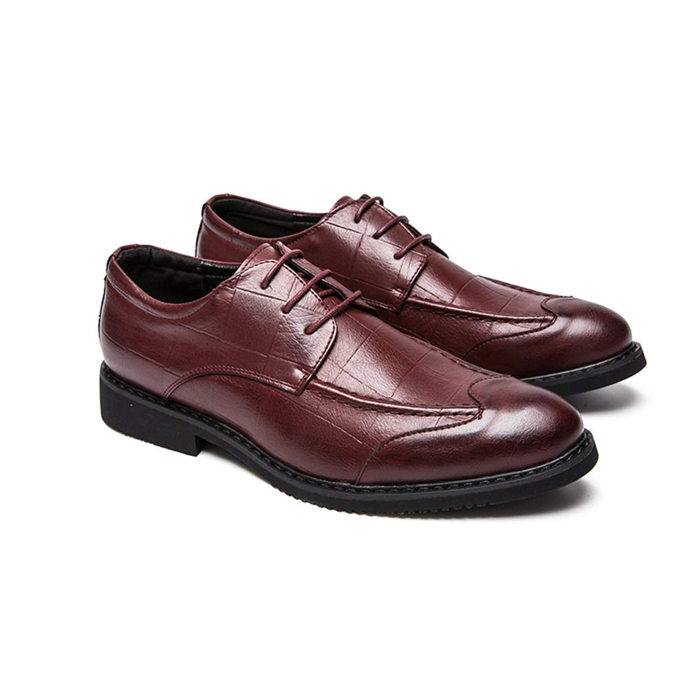 MUMUWU Mens Fashion Oxford Casual Classic British Style Breathable Grid Pattern Formal Shoes Semi Formal Shoes