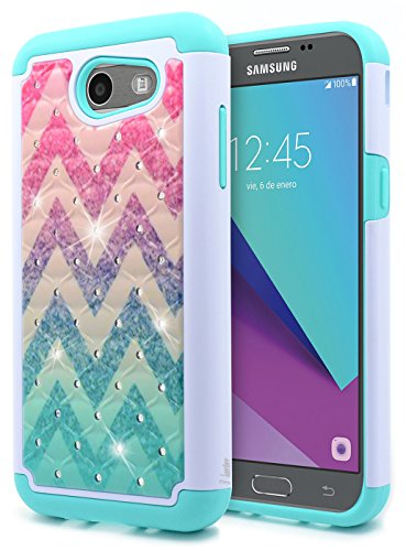 Galaxy J3 Luna Pro Case, J3 Prime /J3 Eclipse /J3 Emerge/Amp Prime 2 /Express Prime 2 /Sol 2 /J3 Mission, NageBee Glitter Rhinestone Sparkle Bling Diamond Girls Cute Case for Samsung J3 2017 -Wave