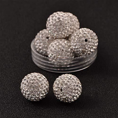 (PH PandaHall 20pcs 16mm Crystal Rhinestone Shamballa Beads Pave Disco Ball Clay Beads Clay Rhinestone Beads for Jewelry Making)