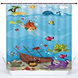 SCOCICI Decorative Shower Curtain,Kids Nautical,Under the Sea Theme Cartoon Underwater Diving Sea Creatures Shells Seahorse Decor Decorative,Polyester Shower Curtains Bathroom Decor Set with Hooks