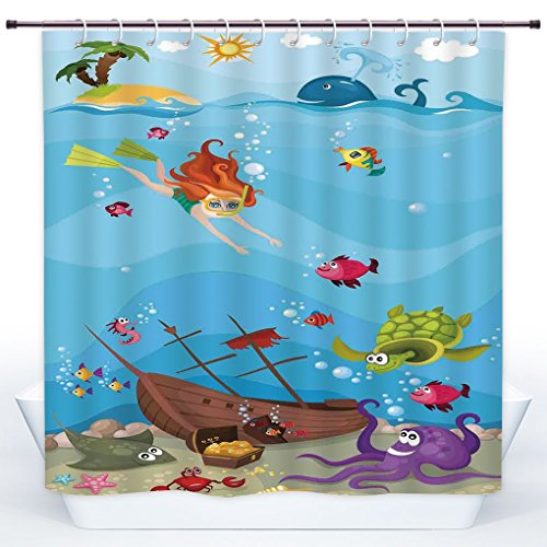 SCOCICI Decorative Shower Curtain,Kids Nautical,Under the Sea Theme Cartoon Underwater Diving Sea Creatures Shells Seahorse Decor Decorative,Polyester Shower Curtains Bathroom Decor Set with Hooks by SCOCICI
