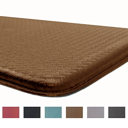 Rochelle Collection Premium Anti-Fatigue Comfort Mat. Multi-Purpose Decorative Non-Slip Standing Mat for the Kitchen, Bathroom, Laundry Room or Office. By Home Fashion Designs Brand. (Bison Brown)