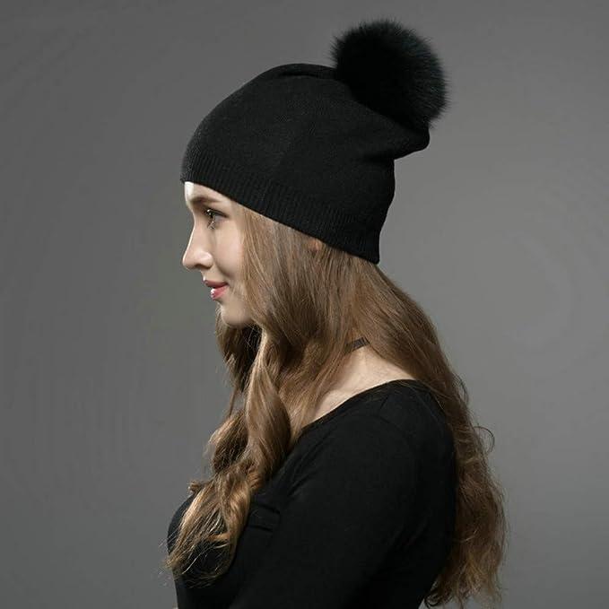 768920199 Amazon – Knit Hat Women Soft Warm Fleece Lined, Real Fur Pom Pom ...
