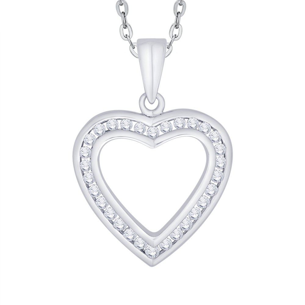 KATARINA Channel Set Diamond Heart Pendant Necklace in Gold or Silver 1//2 cttw, J-K, SI2-I1