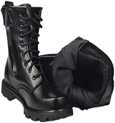 black leather steel toe military boots
