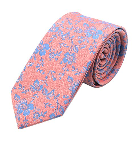 - Men's Women Boys Coral Blue Small Designer Jacquard Silk Tie Formal Self Necktie