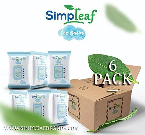 Hypoallergenic Baby Wipes (Simpleaf for Babies Flushable Wipes: Eco- Friendly, Thick and Effective, Paraben and Alcohol Free, Hypoallergenic and Safe for Sensitive Skin, Unscented, Soothing Aloe Vera (6 packs))