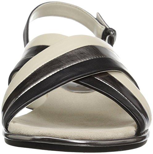 Anne Klein Womens galea Leather Flat Sandal Black k6b0A