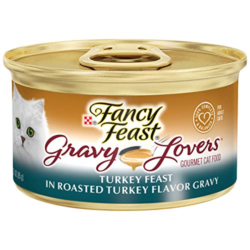 Purina Fancy Feast Gravy Wet Cat Food; Gravy Lovers Turkey Feast in Roasted Turkey Flavor Gravy - 3 oz. Can (24-Pack) (Fancy Feast Cat Food In Gravy)