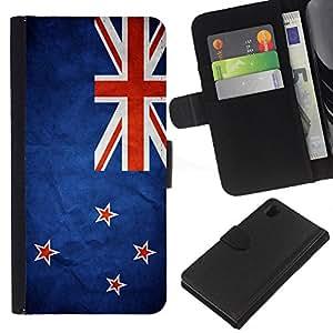 EJOY---La carpeta del tirón la caja de cuero de alta calidad de la PU Caso protector / Sony Xperia Z1 L39 / --Nación Bandera Nacional País Nueva Zelanda