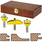 Woodtek 912363, Router Bits, Door Construction, Stile & Rail - Cabinet, 3-Piece Cabinet Door Set W/Cove Panel Bit, 1/2 Shk