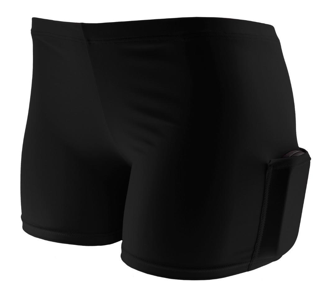 Tuga Spandex Shorts w/ Pocket, 2.5'' Inseam, Black, Medium by Tuga Sportz