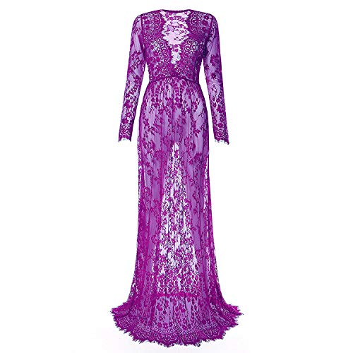 Charmeuse V-neck Floor - Laisiyi Sexy V-Neck See-Through Floral Lace Dress Long Sleeve Maxi Dress (4X-Large, Purple)
