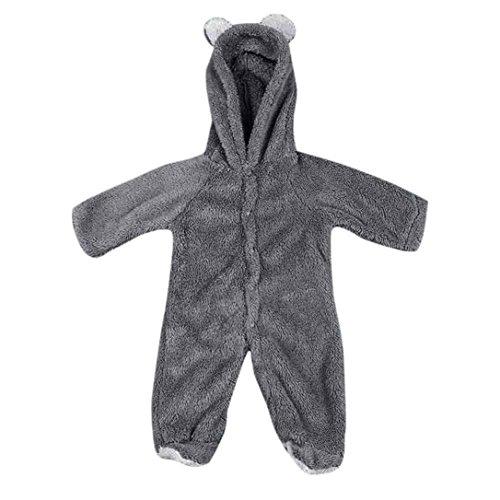 Omiky® Neugeborenes Baby-Säuglingsjungen-Mädchen-Kaninchen-Ohr-Spielanzug-mit Kapuze Overall-Ausstattungs-Kleidung Grau