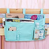 FakeFace 8 Pockets Hanging Bedside Caddy for Dorm Room Cabin Beds/Bunks Nursery Baby Cot Stroller Book Magazine Cellphone Kids Diaper Toys Cup Bottle Holder Tidy Organiser Storage Pouch Bag