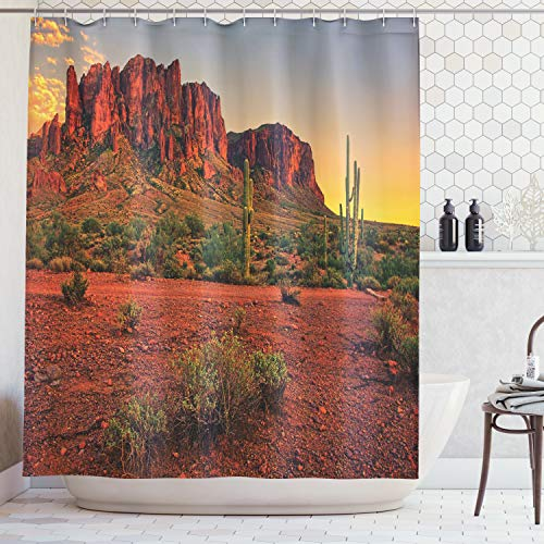 Ambesonne Saguaro Cactus Decor Collection, Colorful Sunset View of the Desert and Mountains near Phoenix Arizona USA Image, Polyester Fabric Bathroom Shower Curtain Set with Hooks, Brown Green -