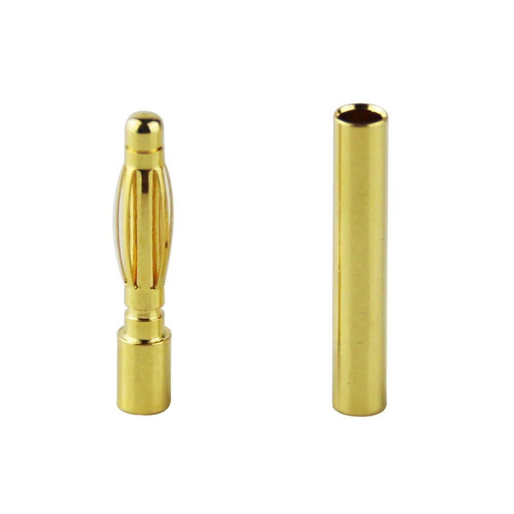 OliYin 30 Pairs of 2.0mm Gold Plated Male and Female Bullet Banana Connectors Plugs for DIY RC Battery ESC Motor