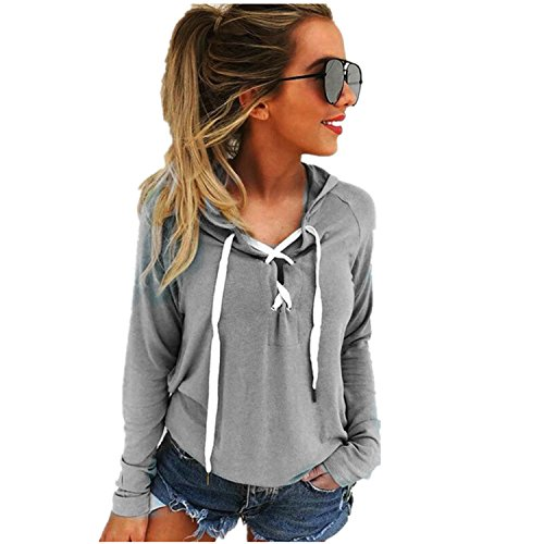 Lucao Women's Sexy Solid Color Long-Sleeved V-Neck Hooded Pullovers Sweatshirt Grey-XL