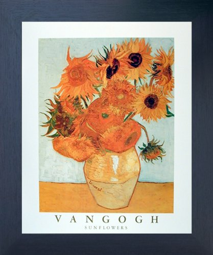 (Impact Posters Gallery Framed Wall Picture Vincent Van Gogh Sunflowers in Vase Floral Espresso Art Print (20x24))