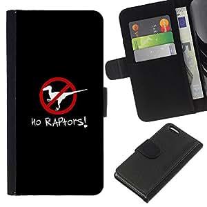 EJOY---La carpeta del tirón la caja de cuero de alta calidad de la PU Caso protector / Apple Iphone 5C / --Raptors cartel Clever dinosaurio Negro