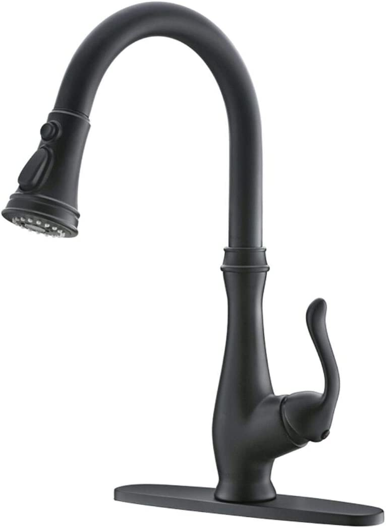 PAKING Kitchen Faucet, Kitchen Sink Faucet, Sink Faucet, Kitchen Faucets with Pull-down Sprayer, Matte Black Bar Kitchen Faucet, Sweep Spray