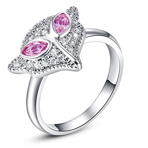 (Veunora 925 Sterling Silver Created Marquise Cut Pink Topaz Filled Cute Fox Ring for Young)