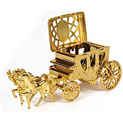 Caiyuangg 2PCS Romantic Wedding Candy Boxes Cinderella Carriage Candy Bags Wedding Holder Favor (Gold)