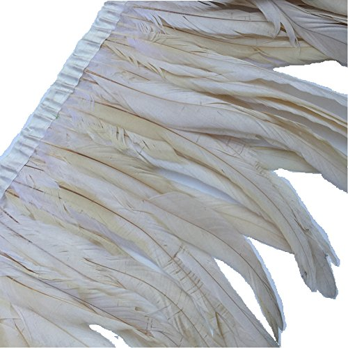 - Sowder Rooster Hackle Feather Fringe Trim 10-12inch in Width Pack of 1 Yard(Ivory)