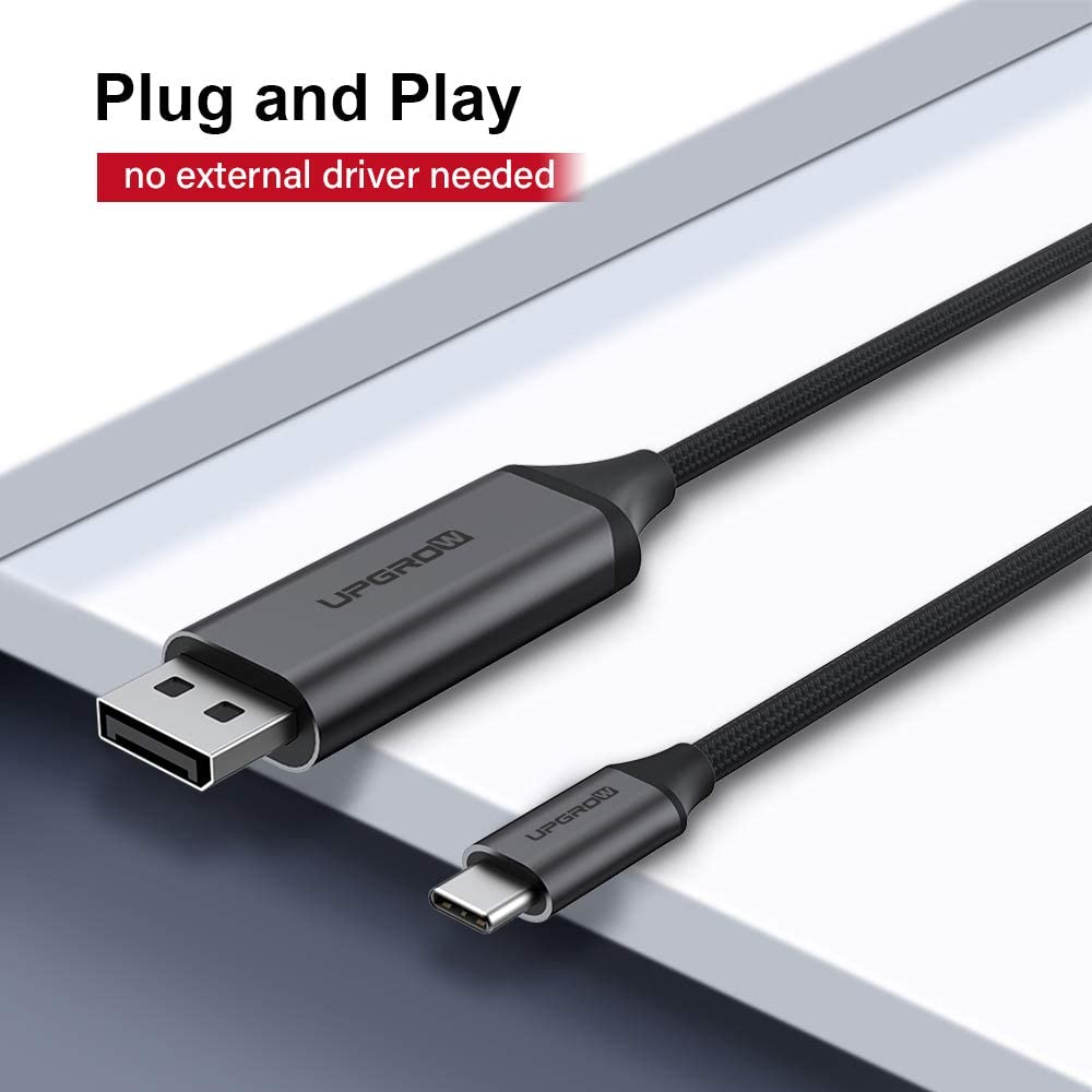 iPad Pro with USB-C Port laptops//Phones UPGROW USB C to DisplayPort Cable 4K@60Hz 6FT for Home Office USB C to DP Cable Compatible with MacBook Pro//Air