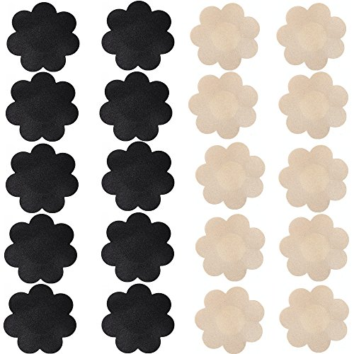 Nippleless Cover, 20 Pairs Self-Adhesive Disposable Bra Gel Petals Pad Pasties (Beige 10 Pairs + Black 10 Pairs)