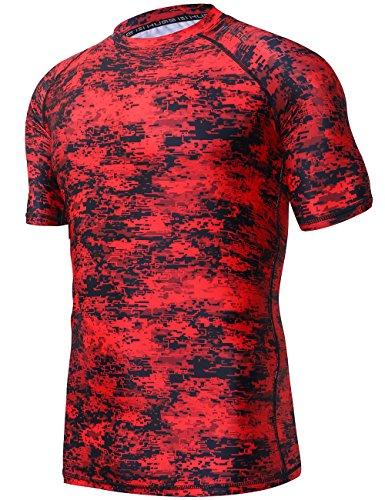 HUGE SPORTS Men's UV Sun Protection UPF 50+ Full Digital Print Rash Guard Short Sleeves (Pixel Red, ()