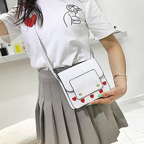 Everpert Girls Heart Handbag White Crossbody Cute PU Bags Messenger Leather Women Shoulder w7r7t