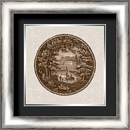 (Sepia Transferware IV 20x20 Silver Contemporary Wood Framed and Double Matted (Black Over Silver) Art Print by Vision)