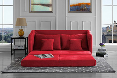 Modern Soft Brush Microfiber Modular / Convertible Sleeper Sofa (Red)