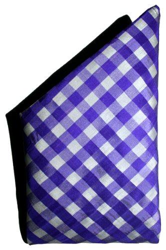 White Purple Checks Silk Pocket Square - Full-Sized 16''x16''
