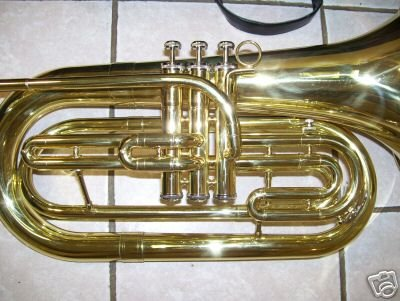 Marching Baritone with hard case and mouthpiece, Brass color