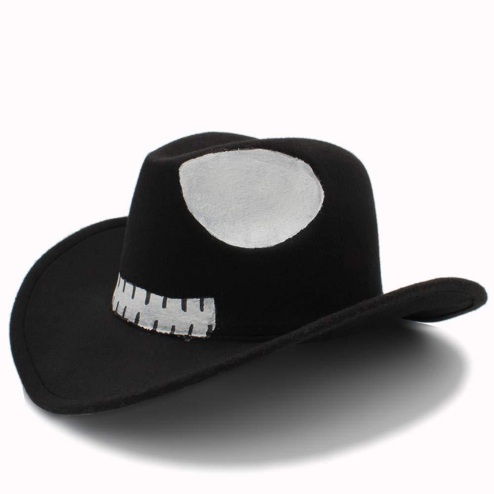 Shuo lan hu wai New Fedora Hat for Women Autunno Halloween Hat Cosplay Wide Brim Jazz Church Panama Uomo Feltro Berretto da Baseball (Colore : Nero, Dimensione : 56-58CM)
