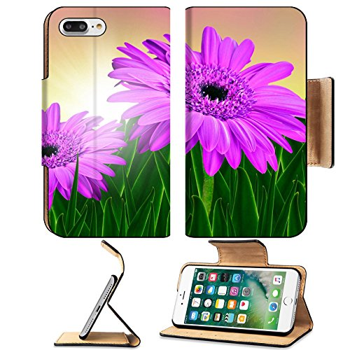 Flower Lentil (Luxlady Premium Apple iPhone 7 Plus Flip Pu Leather Wallet Case iPhone 7 Plus 19223199 Colorful daisy gerbera flowers in a field at sunrise)