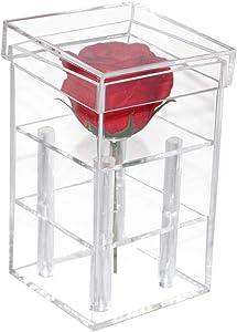 Mordoa Acrylic Flower Box Pot Wedding Flower Holder Multifunction Rose Water Holder Eyeliner Organizer 25 Hole 2 Tiers Storage Box (1 Hole: 9.69.615.5cm)