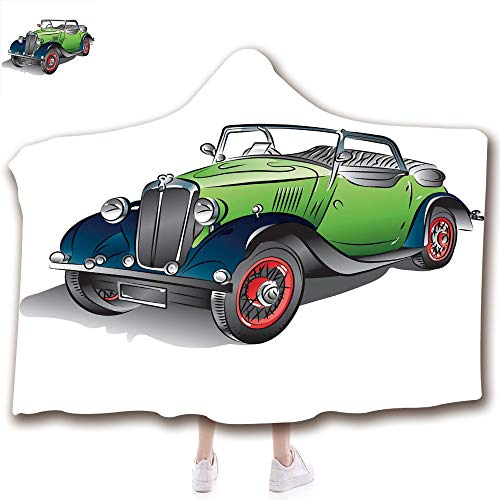 - Fashion Blanket Ancient China Decorations Blanket Wearable Hooded Blanket,Unisex Swaddle Blankets for Babies Newborn by,Vintage Green Car with Colorful Rims Retro Vehicle ,Adult Style Children Style