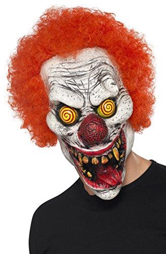 Red Rubber Twisted Clown Full Overhead Fancy Dress Mask.