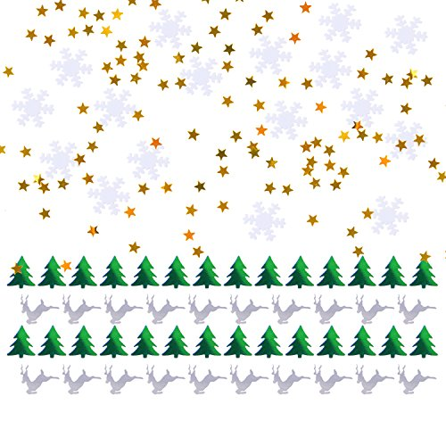 Sumind Table Confetti Christmas Trees, Reindeers, Snowflakes, Stars, Table Sprinkles Confetti for Party Decorations, Multicolored, Total 45 g